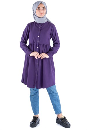 Tunic - Cotton - Unlined - Crew Neck - Purple - TN62 - 5414018