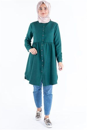 Tunic - Cotton - Unlined - Crew Neck - Emerald Green - TN62 - 5414018