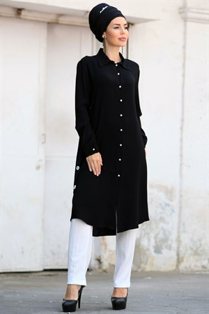 Tunic - Crepe - Lined - Crew Neck - Black - ZNP04