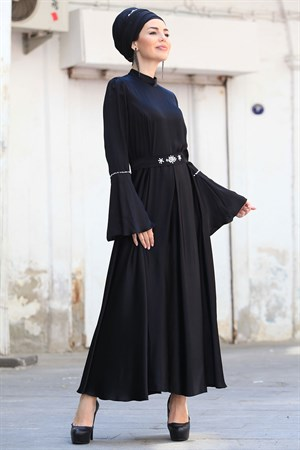 Evening Dress - Crepe - Lined - High Collar - Black - ZNP08