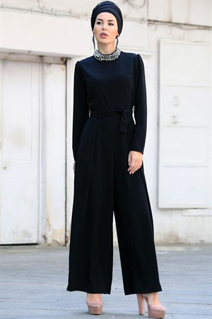 Jumpsuit - Crepe - Unlined - Zero Collar - Black - ZNP09