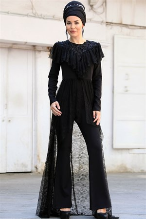 Jumpsuit - Crepe - Unlined - Zero Collar - Black - ZNP11