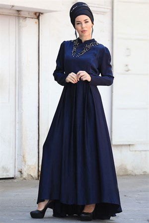 Evening Dress - Crepe - Unlined - High Collar - Dark Navy Blue - ZNP30