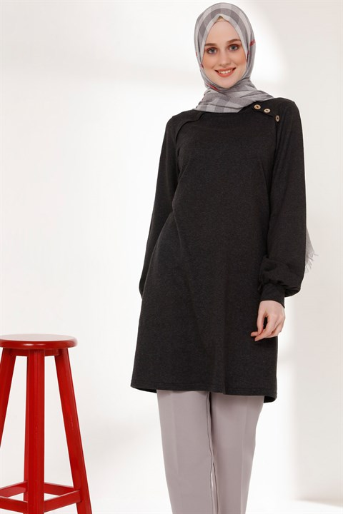 Tunic - Button - Dark Grey - TN266