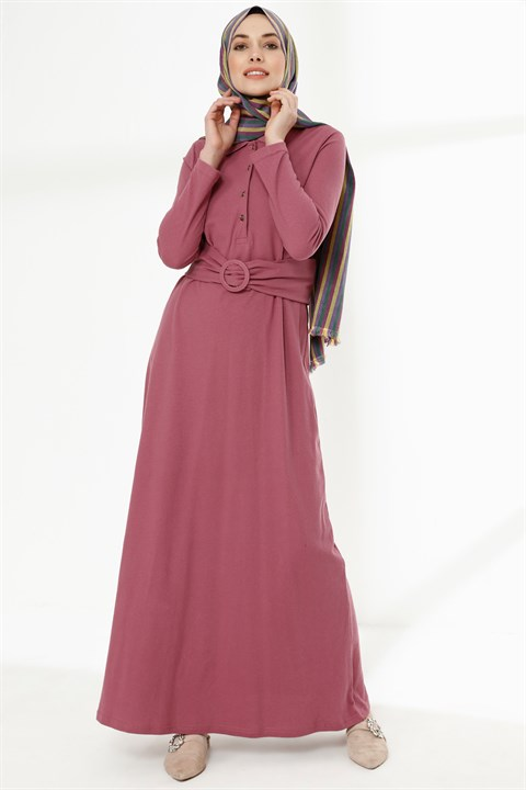 Dress - Oxfort Fabric - Unlined - Crew Neck - Pale Pink - TN36 - 5654021