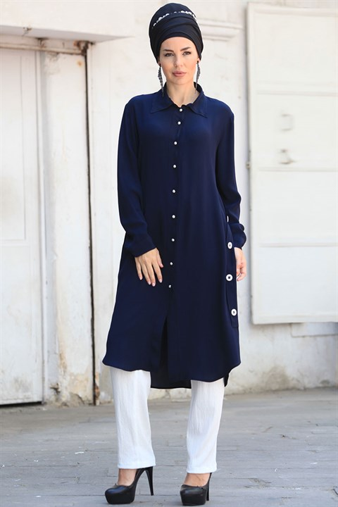 Tunic - Crepe - Lined - Crew Neck - Dark Navy Blue - ZNP04